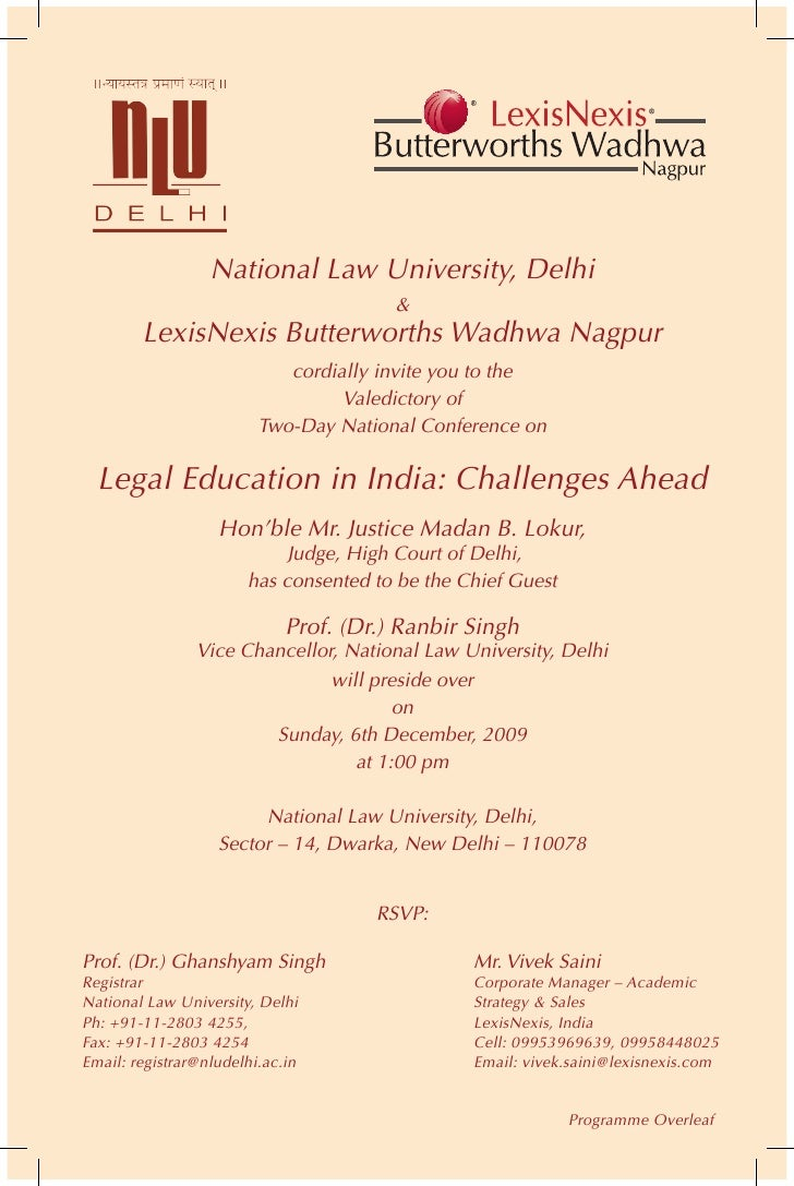 National Law University, Delhi                                         &         LexisNexis Butterworths Wadhwa Nagpur    ...