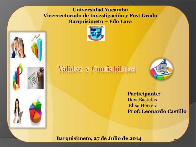 Universidad Yacambú Vicerrectorado de Investigación y Post Grado Barquisimeto – Edo Lara Participante: Dexi Bastidas Elisa...