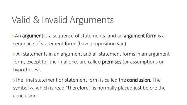 Valid & invalid arguments