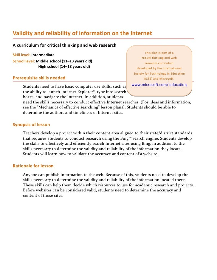 Validity and reliability of information on the Internet A curriculum for critical thinking and web research               ...
