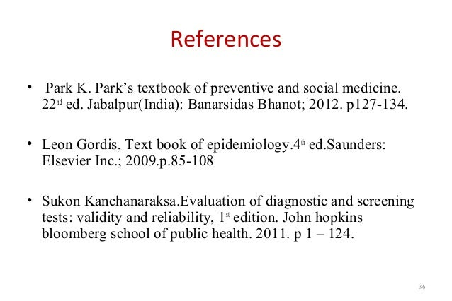 Validity of a screening test 36 references park k parks textbook of preventive and social medicine fandeluxe Images