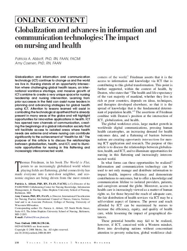 ONLINE CONTENTGlobalization and advances in information andcommunication technologies: The impacton nursing and healthPatr...