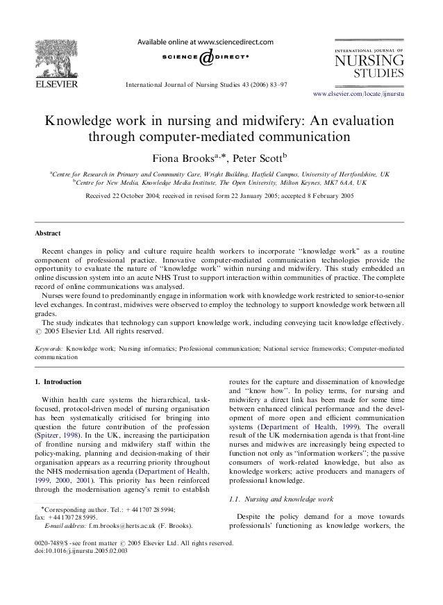 ARTICLE IN PRESS                                 International Journal of Nursing Studies 43 (2006) 83–97                 ...