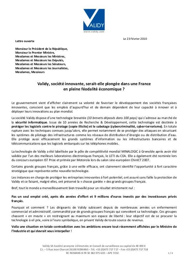 www.validy.com Validy SA Société anonyme à Directoire et Conseil de surveillance au capital de 40 000 € Z.I. – 5 Rue Jean ...