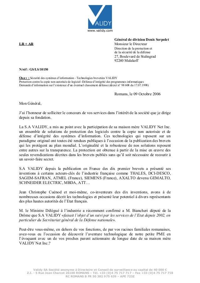 www.validy.com Général de division Denis Serpolet LR + AR Monsieur le Directeur Direction de la protection et de la sécuri...
