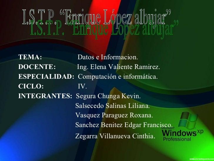 TEMA:   Datos e Informacion. DOCENTE:   Ing. Elena Valiente Ramirez. ESPECIALIDAD:   Computación e informática. CICLO:   I...