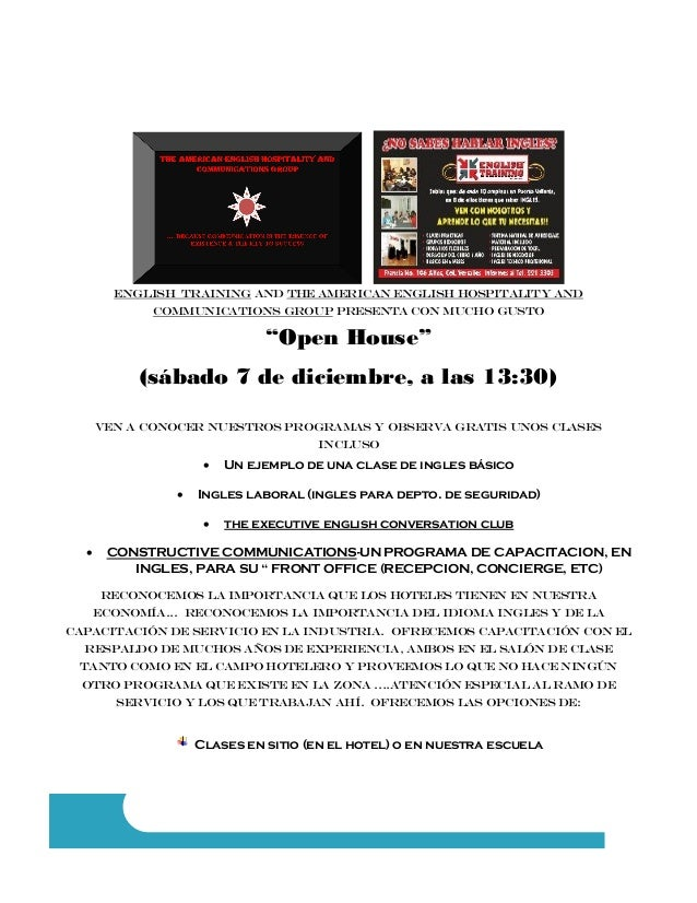 """english training and the American english hospitality and communications group presenta con mucho gusto  """"Open House"""" (sáb..."""