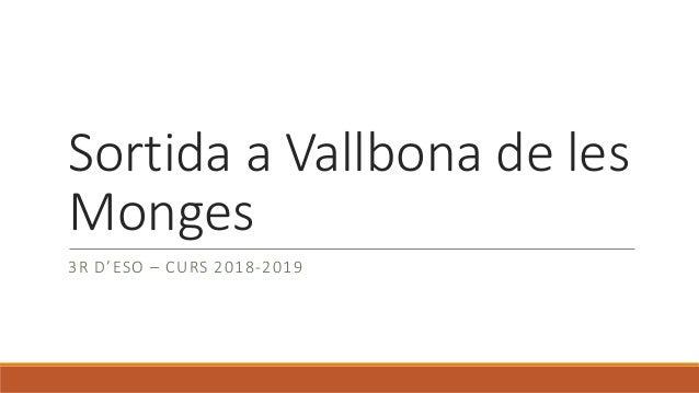 Sortida a Vallbona de les Monges 3R D'ESO – CURS 2018-2019