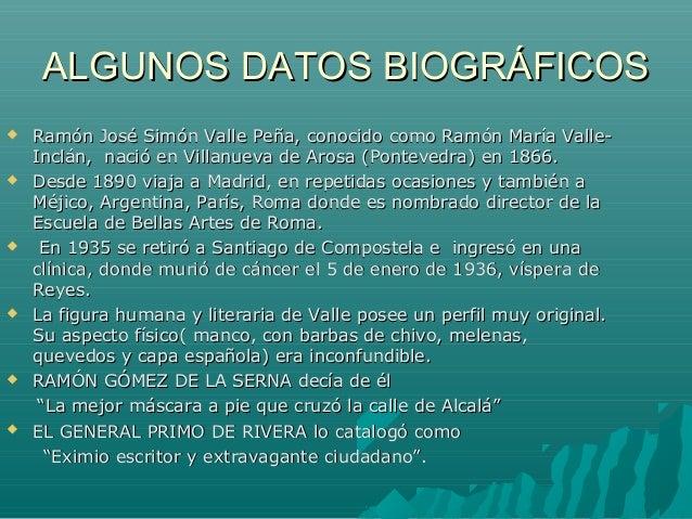 ALGUNOS DATOS BIOGRÁFICOSALGUNOS DATOS BIOGRÁFICOS  Ramón José Simón Valle Peña, conocido como Ramón María Valle-Ramón Jo...