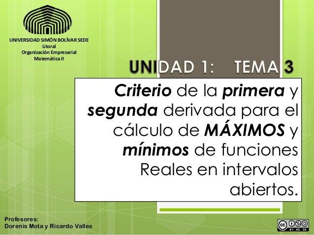 UNIVERSIDAD SIMÓN BOLÍVAR SEDE              Litoral     Organización Empresarial          Matemática II                   ...