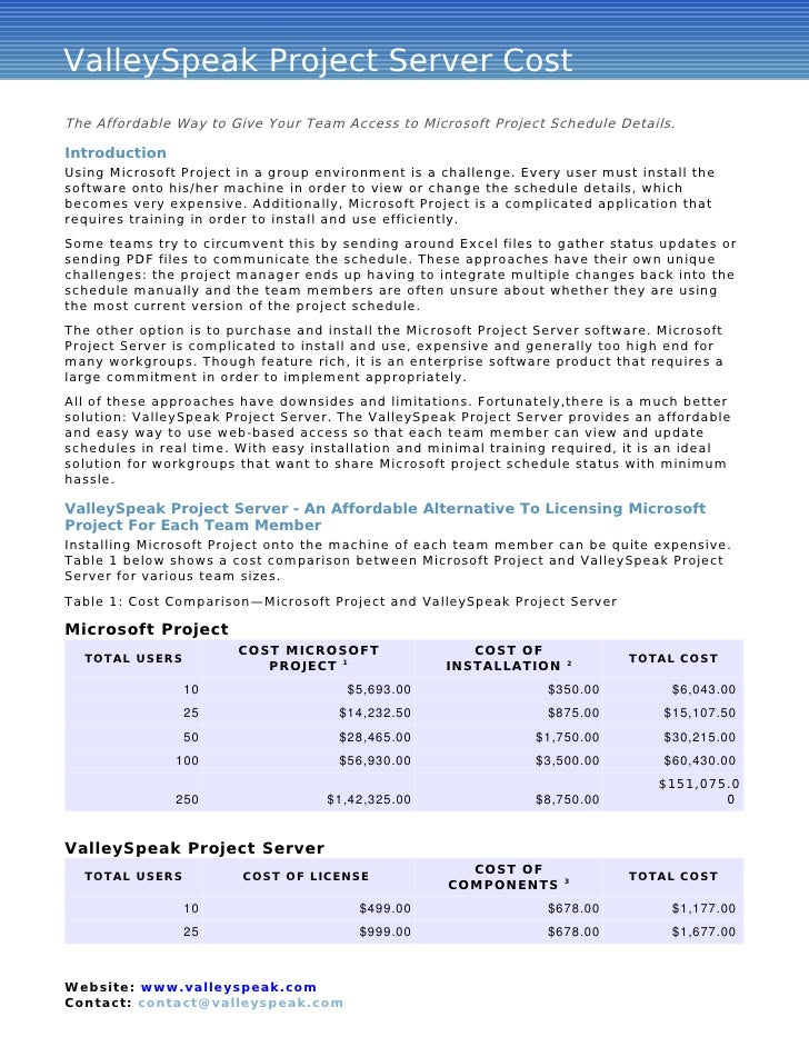 ValleySpeak Project Server Cost Advantages The Affordable Way to Give Your Team Access to Microsoft Project Schedule Detai...