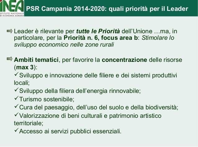 PSR Campania 2014-2020: quali priorità per il Leader  Leader è rilevante per tutte le Priorità dell'Unione …ma, in  partic...