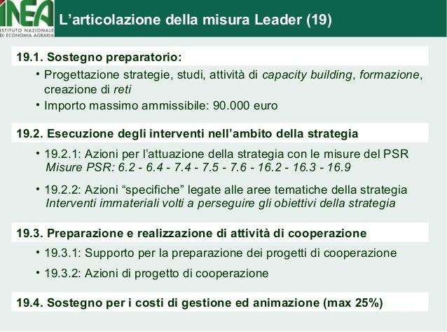 L'articolazione della misura Leader (19)  19.1. Sostegno preparatorio:  • Progettazione strategie, studi, attività di capa...