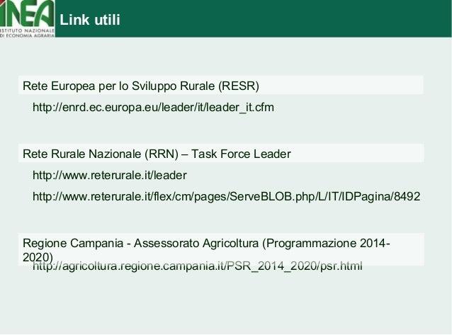 Link utili  Rete Europea per lo Sviluppo Rurale (RESR)  http://enrd.ec.europa.eu/leader/it/leader_it.cfm  Rete Rurale Nazi...