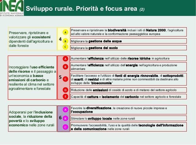 Sviluppo rurale. Priorità e focus area (2)  4  Preservare e ripristinare la biodiversità inclusi i siti di Natura 2000, l'...
