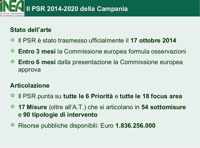 Il PSR 2014-2020 della Campania  Stato dell'arte  Il PSR è stato trasmesso ufficialmente il 17 ottobre 2014  Entro 3 mesi ...