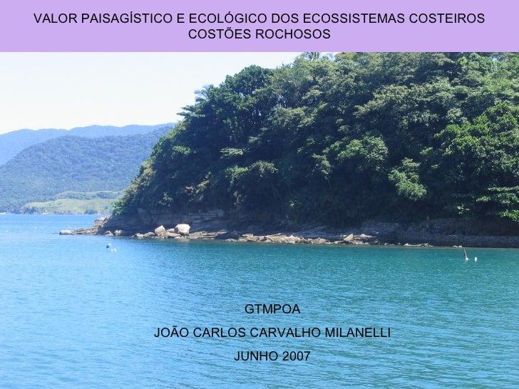 VALOR PAISAGÍSTICO E ECOLÓGICO DOS ECOSSISTEMAS COSTEIROS                      COSTÕES ROCHOSOS                           ...