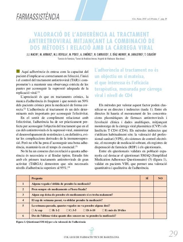 FARMASSISTÈNCIA  Circ. Farm. 2011 vol. 69 núm. 1 - pàg. 29  VALORACIÓ DE L'ADHERÈNCIA AL TRACTAMENT ANTIRETROVIRAL MITJANÇ...