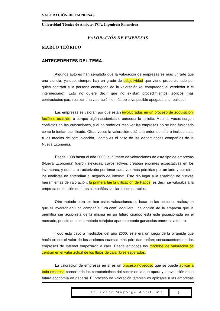 VALORACIÓN DE EMPRESASUniversidad Técnica de Ambato, FCA, Ingeniería Financiera                            VALORACIÓN DE E...