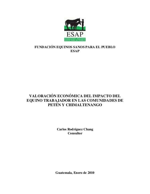 FUNDACIÓN EQUINOS SANOS PARA EL PUEBLO ESAP VALORACIÓN ECONÓMICA DEL IMPACTO DEL EQUINO TRABAJADOR EN LAS COMUNIDADES DE P...