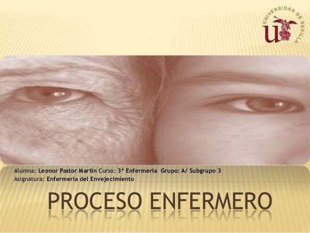 Alumna: Leonor Pastor Martín Curso: 3º Enfermería Grupo: A/ Subgrupo 3 Asignatura: Enfermería del Envejecimiento  PROCESO ...