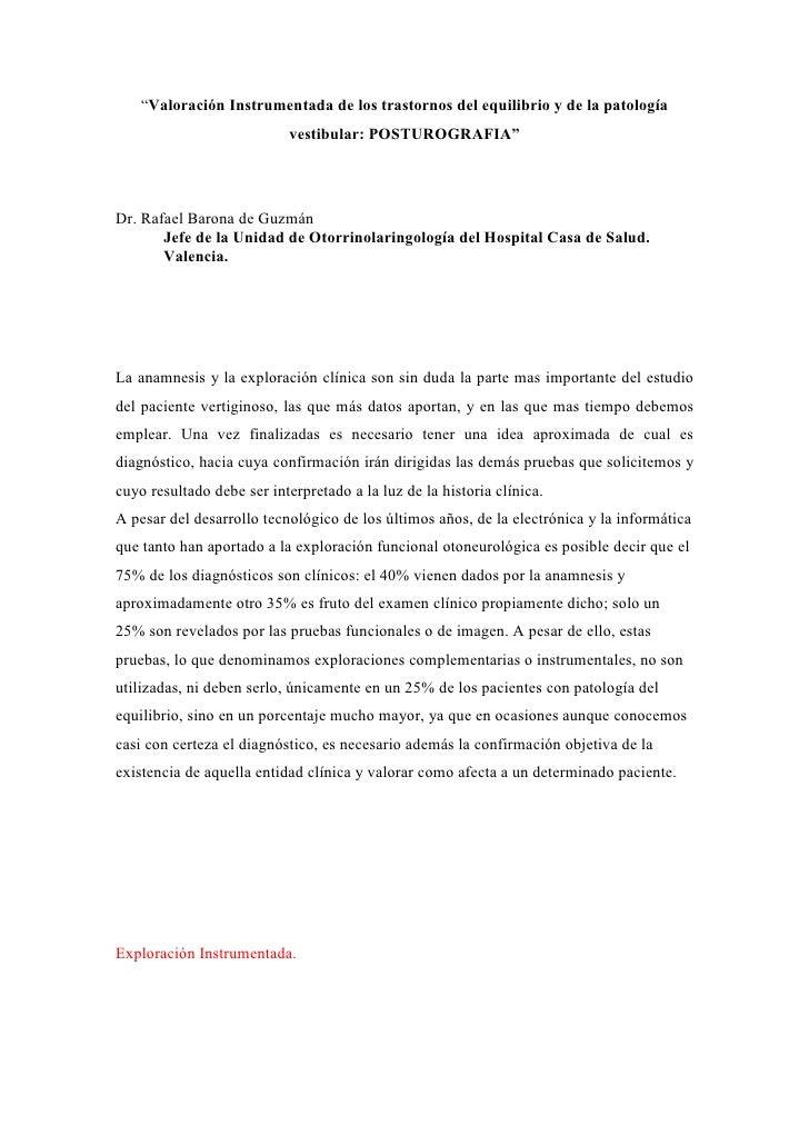 """""""Valoración Instrumentada de los trastornos del equilibrio y de la patología                             vestibular: POSTU..."""