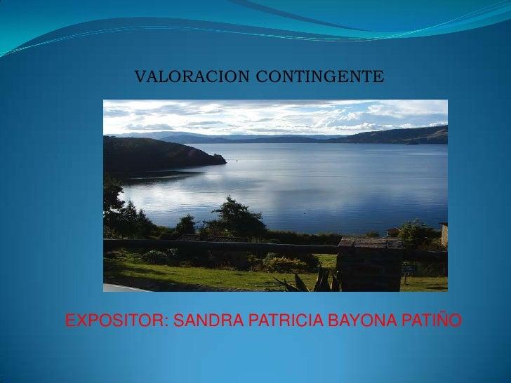 VALORACION CONTINGENTE<br />EXPOSITOR: SANDRA PATRICIA BAYONA PATIÑO<br />