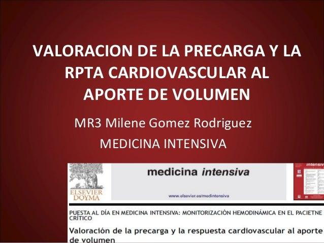 VALORACION DE LA PRECARGA Y LA   RPTA CARDIOVASCULAR AL     APORTE DE VOLUMEN    MR3 Milene Gomez Rodriguez       MEDICINA...