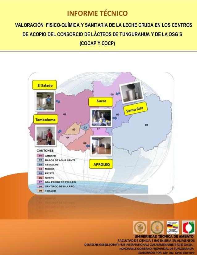 INFORME TÉCNICOVALORACIÓN FISICO-QUÍMICA Y SANITARIA DE LA LECHE CRUDA EN LOS CENTROS  DE ACOPIO DEL CONSORCIO DE LÁCTEOS ...