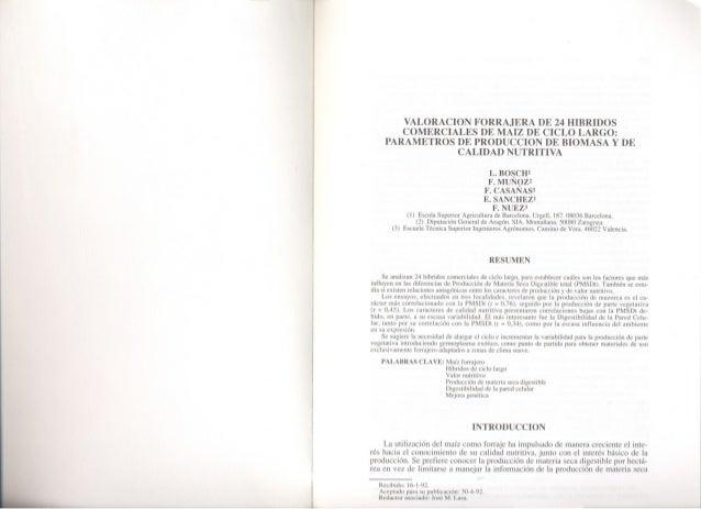 VALORACION FORRAJERA DE 24 HIBRIDOSCOMERCIALES DE MAIZ DE CICLO LARGO:PARAMETROS DE PRODUCCION DE BIOMASA y DECALIDAD NUTR...