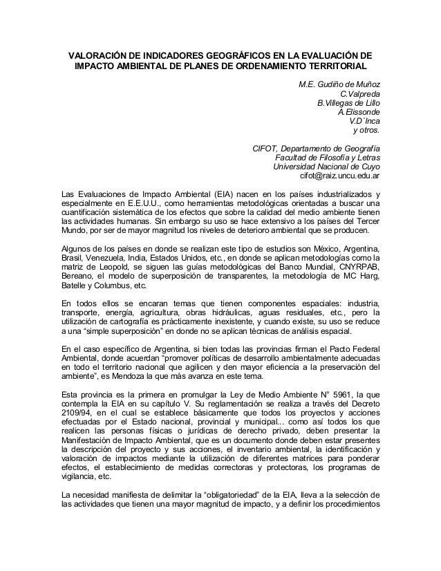 VALORACIÓN DE INDICADORES GEOGRÁFICOS EN LA EVALUACIÓN DE IMPACTO AMBIENTAL DE PLANES DE ORDENAMIENTO TERRITORIAL M.E. Gud...