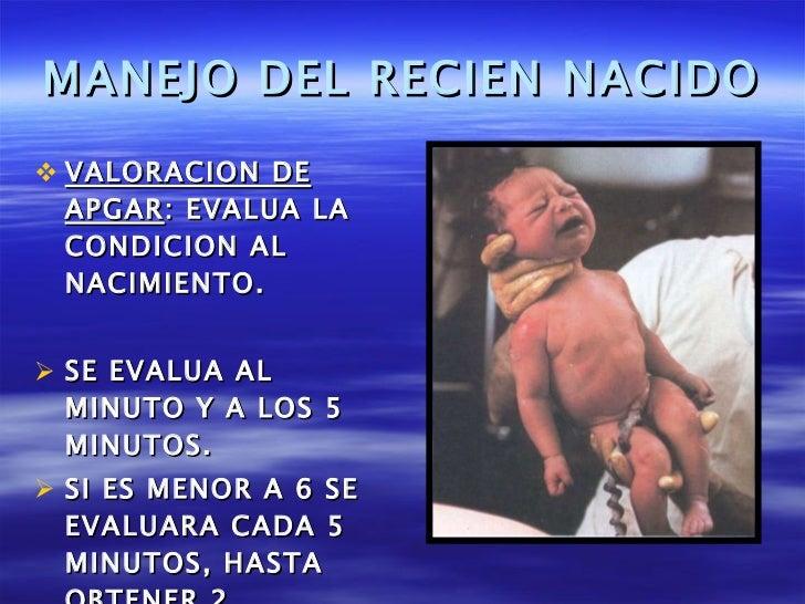 MANEJO DEL RECIEN NACIDO <ul><li>VALORACION DE APGAR : EVALUA LA CONDICION AL NACIMIENTO. </li></ul><ul><li>SE EVALUA AL M...