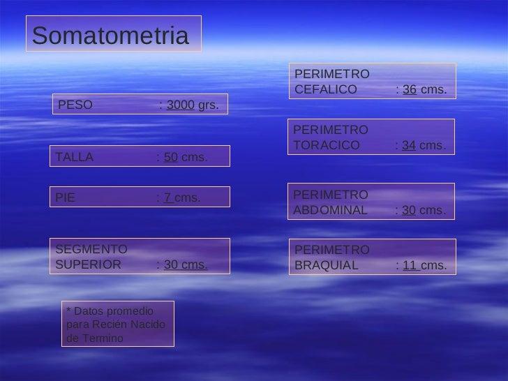 Somatometria   PESO :  3000  grs .   TALLA :  50  cms.   PIE :  7  cms.   SEGMENTO  SUPERIOR :  30 cms.   PERIMETRO  CEFAL...