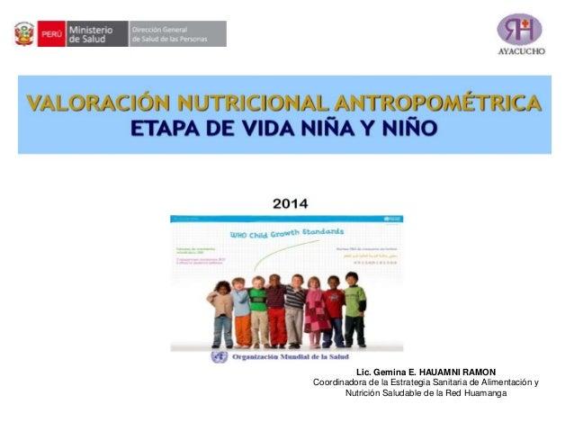 Lic. Gemina E. HAUAMNI RAMON Coordinadora de la Estrategia Sanitaria de Alimentación y Nutrición Saludable de la Red Huama...