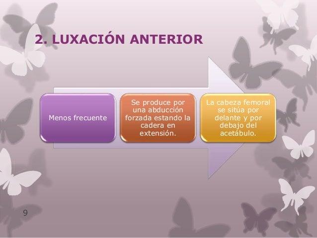 Postura típica de la luxación anterior: Flexión, abducción y rotación externa de cadera 10