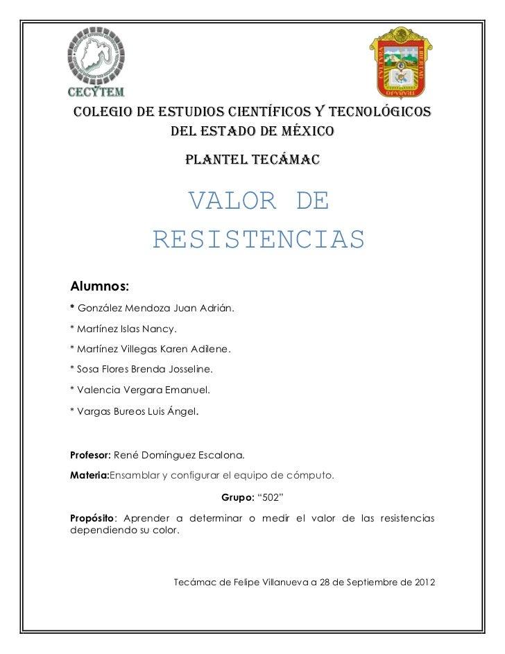 COLEGIO DE ESTUDIOS CIENTÍFICOS Y TECNOLÓGICOS            DEL ESTADO DE MÉXICO                          PLANTEL TECÁMAC   ...