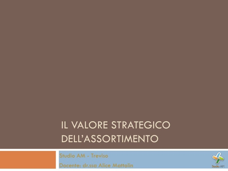 IL VALORE STRATEGICO DELL'ASSORTIMENTO Studio AM - Treviso Docente: dr.ssa Alice Mattolin
