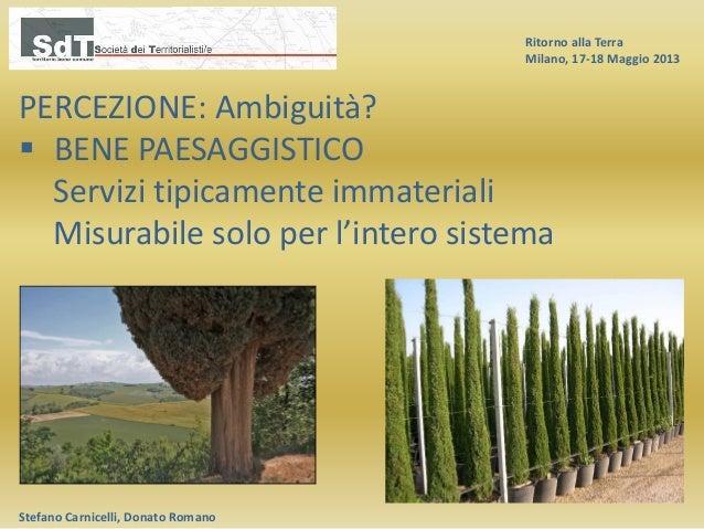 Ritorno alla Terra Milano, 17-18 Maggio 2013 Stefano Carnicelli, Donato Romano PERCEZIONE: Ambiguità?  BENE PAESAGGISTICO...