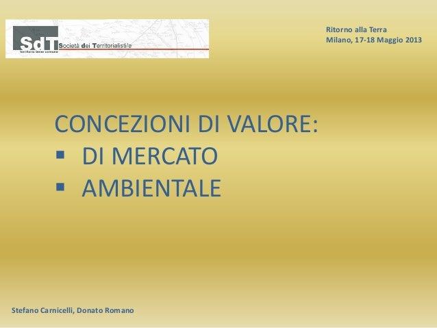 Ritorno alla Terra Milano, 17-18 Maggio 2013 Stefano Carnicelli, Donato Romano CONCEZIONI DI VALORE:  DI MERCATO  AMBIEN...