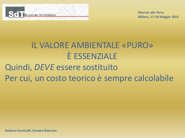Ritorno alla Terra Milano, 17-18 Maggio 2013 Stefano Carnicelli, Donato Romano IL VALORE AMBIENTALE «PURO» È ESSENZIALE Qu...