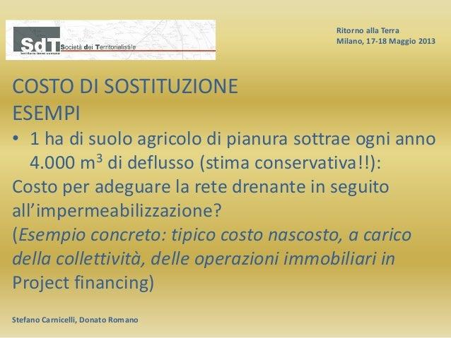 Ritorno alla Terra Milano, 17-18 Maggio 2013 Stefano Carnicelli, Donato Romano COSTO DI SOSTITUZIONE ESEMPI • 1 ha di suol...