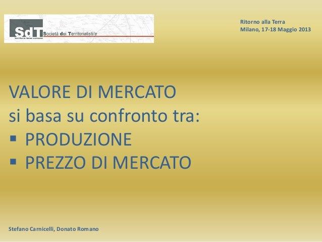 Ritorno alla Terra Milano, 17-18 Maggio 2013 Stefano Carnicelli, Donato Romano VALORE DI MERCATO si basa su confronto tra:...
