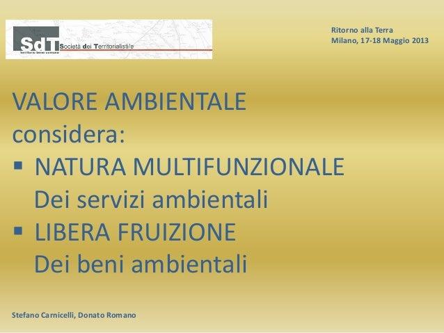 Ritorno alla Terra Milano, 17-18 Maggio 2013 Stefano Carnicelli, Donato Romano VALORE AMBIENTALE considera:  NATURA MULTI...