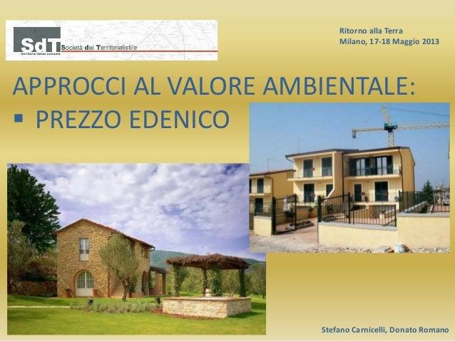 Ritorno alla Terra Milano, 17-18 Maggio 2013 Stefano Carnicelli, Donato Romano APPROCCI AL VALORE AMBIENTALE:  PREZZO EDE...