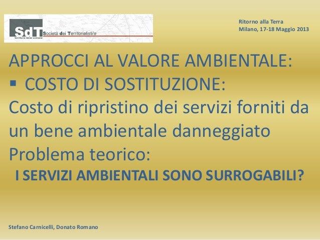 Ritorno alla Terra Milano, 17-18 Maggio 2013 Stefano Carnicelli, Donato Romano APPROCCI AL VALORE AMBIENTALE:  COSTO DI S...