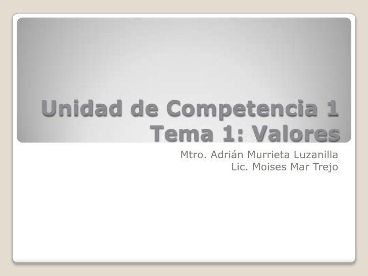 Unidad de Competencia 1        Tema 1: Valores          Mtro. Adrián Murrieta Luzanilla                    Lic. Moises Mar...