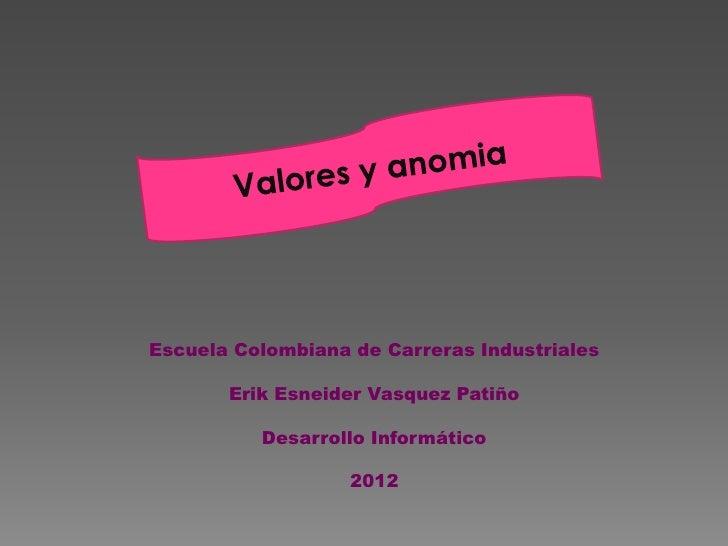 Escuela Colombiana de Carreras Industriales       Erik Esneider Vasquez Patiño          Desarrollo Informático            ...
