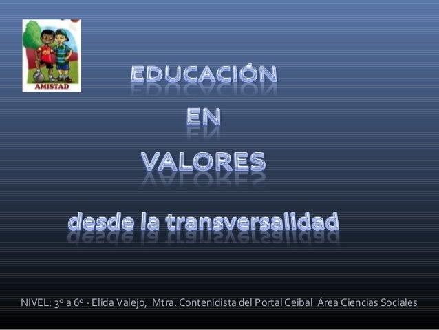 NIVEL: 3º a 6º - Elida Valejo, Mtra. Contenidista del Portal Ceibal Área Ciencias Sociales