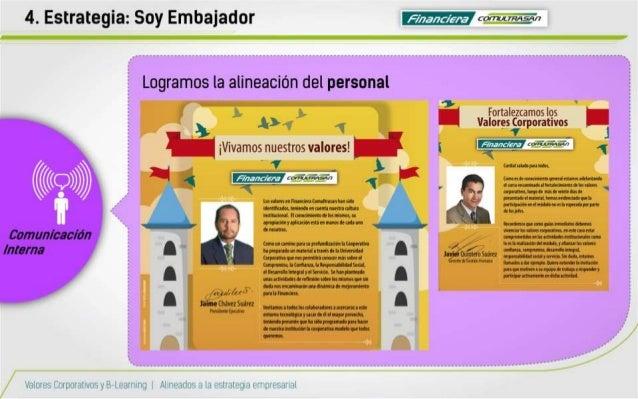 4. Estrategia:  Soy Embajador F .  '     Logramos la alineación del personal  xl  Fortalezcamos lqs .  . .  Valoresqarpora...