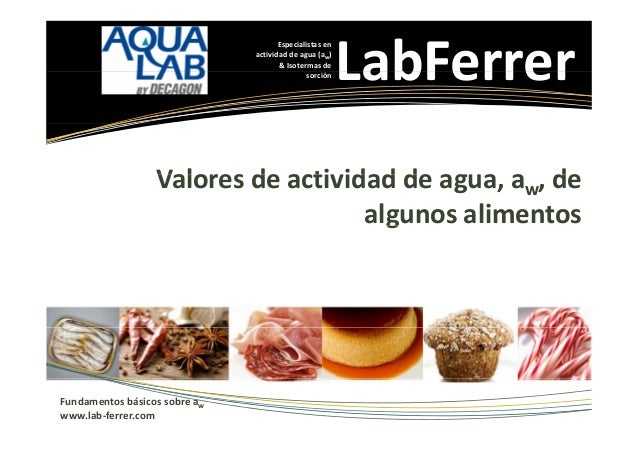 Especialistasen actividaddeagua(aw) &Isotermasde sorción  LabFerrer  Valoresdeactividaddeagua,aw,de V l d ...